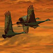 Cranes At Sunrise Print by Larry Linton