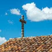 Cross And Tiled Roof Art Print