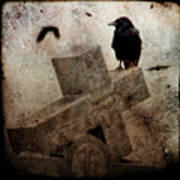 Cross With Crow Art Print