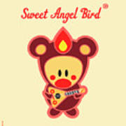 Cute Art - Sweet Angel Bird In A Brown Bear Costume Playing A Balalaika Wall Art Print Art Print