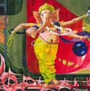 Dancing Ganapati With Universe And Abstract Back Ground Art Print