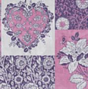 Deco Heart Pink Art Print