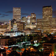 Denver Evening Skyline Art Print