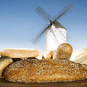 Different Breads And Windmill In The Background Art Print