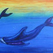 Dolphins At Play Art Print