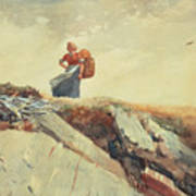 Down The Cliff Art Print by Winslow Homer