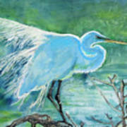 Egret In The Summer Breeze  Art Print