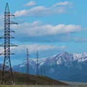 Electric Power Transmission Pylons On Inner Mongolia Grassland At Sunrise  Art Print