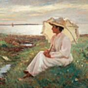 Elegant Lady By The Sea Art Print