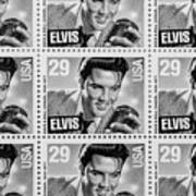 Elvis Commemorative Stamp January 8th 1993 Painted Bw Art Print