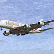 Emirates A380 Airbus Oil Art Print