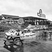 Empty Outdoor Amusement Park On A Cold Wet British Summer Day North Wales Uk Art Print
