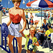 England Weston Super Mare Vintage Travel Poster Art Print