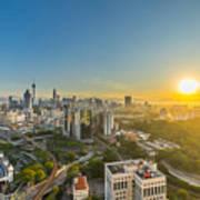 Epic And Beautiful Sunrise At Kuala Lumpur City Center Art Print
