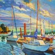 Evening At The Marina Art Print