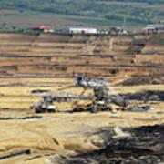 Excavators Working On Open Pit Coal Mine Art Print