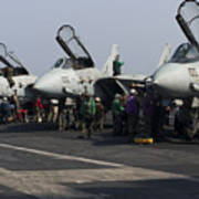 F-14d Tomcats On The Flight Deck Of Uss Art Print