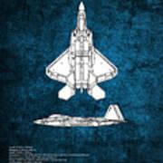 F22 Raptor Blueprint Art Print