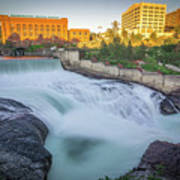 Falls And The Washington Water Power Building Along The Spokane  Art Print
