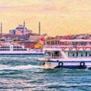 Ferry Traffic On The Bosphorus Art Print