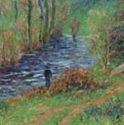Fisher On The Bank Of The River Art Print