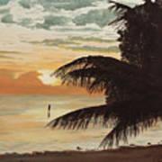 Fisherman At Sunrise Art Print