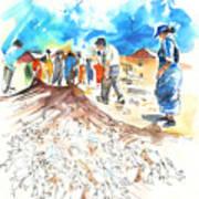 Fishermen In Praia De Mira Art Print
