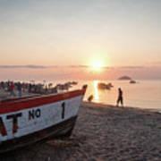 Fishing Boats And The Informal Market - Senga Bay Lake Malawi Art Print