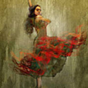 Flamenco In Red Art Print