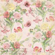 Fleurs De Pivoine - Watercolor W Butterflies In A French Vintage Wallpaper Style Art Print