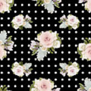 Floral Rose Cluster W Dot Bedding Home Decor Art Art Print