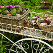 Flower Cart In Garden Art Print by Elena Elisseeva