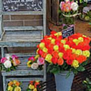 Flower Shop Display In Paris, France Art Print