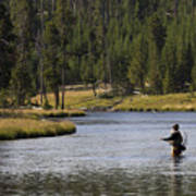 Fly Fishing In The Firehole River Yellowstone Art Print