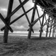 Folly Beach Pier Black And White Art Print