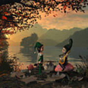 Forest Elves A Sunset Art Print