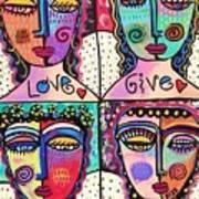 Four Gemstone Angels  Art Print by Sandra Silberzweig
