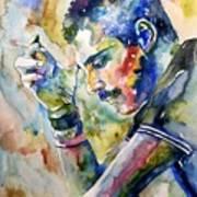 Freddie Mercury Watercolor Art Print
