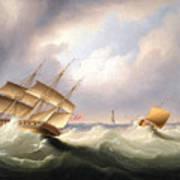 Frigate Off A Lighthouse Art Print
