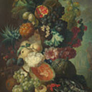 Fruit Flowers And A Fish Art Print