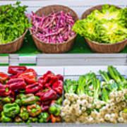 Fruits And Vegetables On A Supermarket Shelf Art Print by Deyan Georgiev