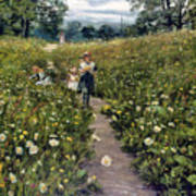 Gathering Wild Flowers Art Print