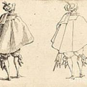 Gentleman In Large Mantle, Seen From Behind Art Print
