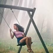 Girl In Swing Art Print