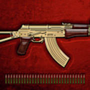 Gold A K S-74 U Assault Rifle With 5.45x39 Rounds Over Red Velvet   Art Print