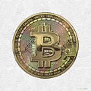 Gold Bitcoin Effigy Over White Leather Art Print