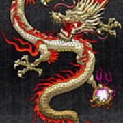 Golden Chinese Dragon Fucanglong  Art Print