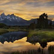 Grand Teton Sunset Reflections Art Print