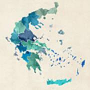 Greece Watercolor Map Art Print