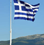 Greek Flag In Acropolis Of Athens Art Print